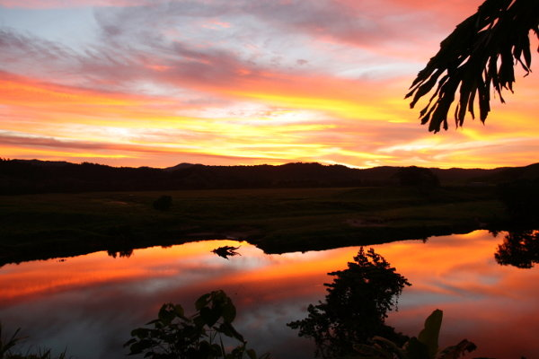 Sunset over the Daintree River viewed from Daintree Village Bed and Breakfast